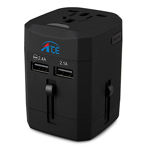 Price comparison product image Ace Adapters,Travel Adapter All in One Travel Plug with Dual 2.1A USB Charging Ports Universal Charger for Europe Italy France Germany UK India Spain Australia Canada Cell phone tablet