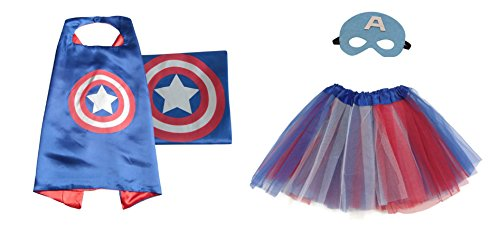 [Rush Dance Kids Children's Deluxe Comics Super Hero CAPE & MASK & TUTU Costume (Captain America (Red Blue White] (Ariel Blue Dress Costumes)