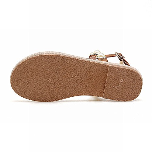 Carolbar Donna Fibbia Perline Retro Sandali Casuali Sandali Lunghi In Pelle Marrone