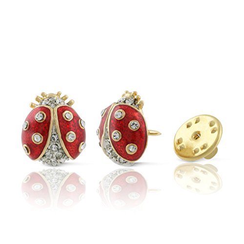 JanKuo Jewelry Gold Plated Ruby Color Ladybug Brooch Pin