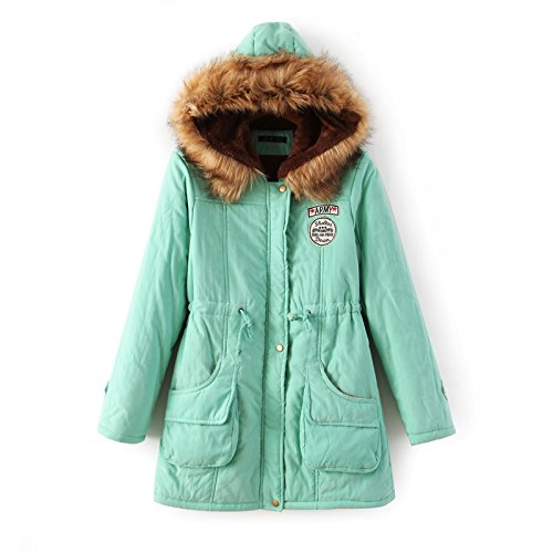 DYF Coat Solid Thickened Medium Green Pocket Color Apple length Big Jacket Down XXXL size FEtqrF
