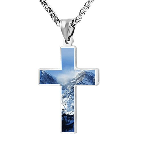 Gjghsj2 Cross Necklace Pendant Religious Jewelry Winter Mountain For Men Wome ()