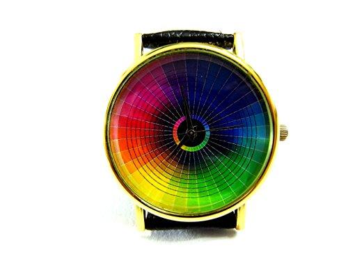 (Color Wheel Watch, Color Wheel Leather Watch, Bracelet Watch, Handmade Watch, Genuine Leather Bracelet Watch P181)