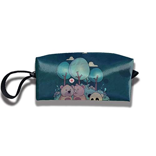 Cosmetic Bags With Zipper Makeup Bag Cute Panda And Bears Middle Wallet Hangbag Wristlet -
