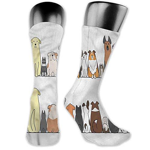 (thin Silk socks Dog,Dog Family in a Row Artful,socks for women)