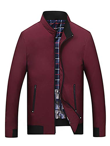 INVACHI Men's Casual Waterproof Softshell Active Lightweight Bomber Jacket Wine Red Small