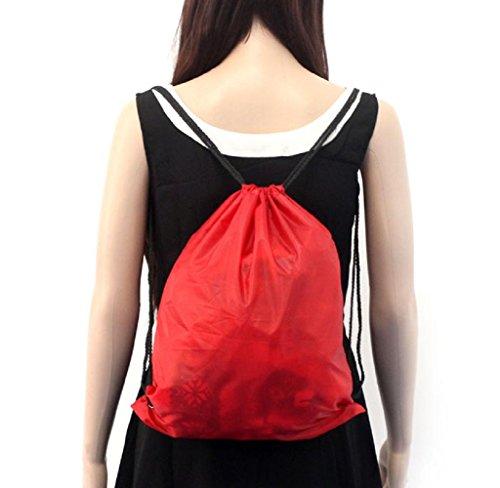 Covermason Nylon Kordelzug Rucksack Drawstring Backpack Sport Reise Draussen Rucksack Taschen Rot