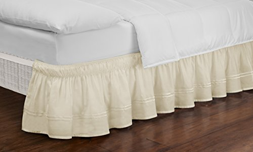 Easy Fit Embroidered Bed Skirt - Baratta Wrap Around Easy On/Off Dust Ruffle 18-Inch Drop Bedskirt, Queen/King, Ivory