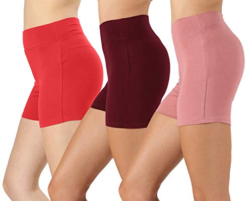 NUNU in LA Womens & Plus Soft Cotton Stretch High Banded Waist Sports Short Pants, (3PK: RED/DK Burgundy/Dusty Rose, Large)