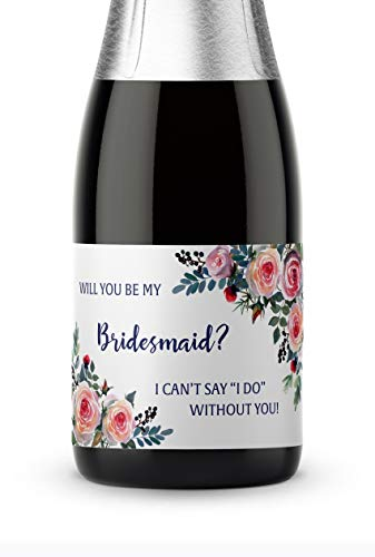● SET of 8 ● Bridesmaid Proposal - Bridesmaid Mini Champagne Labels - 6 Be My BRIDESMAID Labels + 1 MAID of HONOR + 1 MATRON of HONOR Label, Bridal Party Ask, 3.5