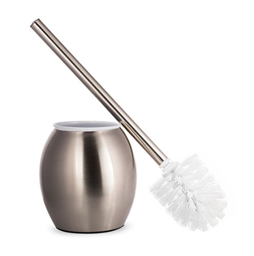 AMG and Enchante Accessories, Toilet Brush and Oval Holder, TB100002 SNI, Satin Nickel