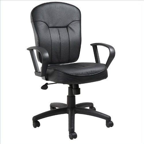 Boss Office Products B1562 Leather Task Chair with Loop Arms in Black (Cushion Bankers Chair)