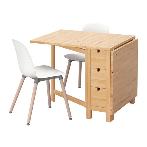 Ikea Table and 2 chairs, birch, white 10204.20514.3830