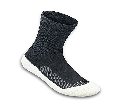 Orthofeet Padded Sole Non-Binding Non-Constrictive Circulation Seam Free Bamboo Socks Black, 3 Pack ()
