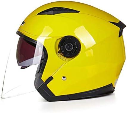 NJ ヘルメット- オートバイ電動ヘルメットメンズと女性半分カバー二重レンズ透明防曇ヘルメット (色 : 黄, サイズ さいず : バツ)