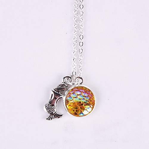 Mikash Fashion Mermaid Scale Pendant Rainbow Holographic Sequins Charm Necklace Chain | Model NCKLCS - 38085 |