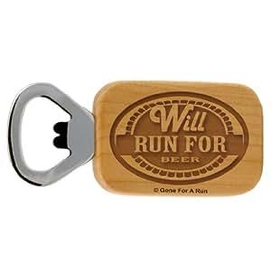 Gone For a Run Will Run For Beer Maple Bottle Opener