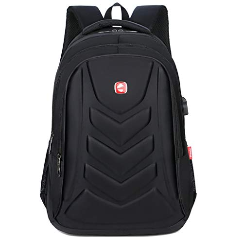 Business Backpack USB Charging Port Waterproof Travel School Daypack for Laptop Bookbag (Black) ()