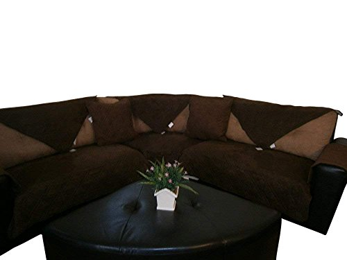 - OctoRose Quilted Micro Suede Customised Sectional Sofa Throw Pad Furniture Protector Sold By Piece Rather Than Set (Brown, 35x82)