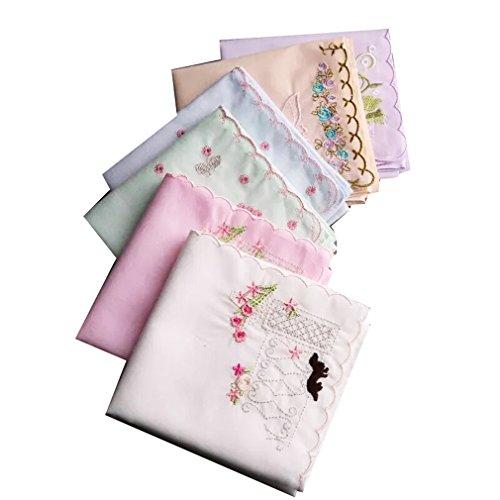 Ladies New Embroidered Cotton Soft Handkerchiefs Large 43cm x 43cm, 6 pack