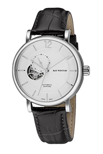 (Ray Winton Men's WI0604 Automatic Analog Skeleton White Dial Croc-Embossed Genuine Black Leather Watch)