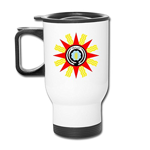 HUOPR5Q Iraq State Emblem CoA 1959-1965 Qassem Trendy Printed Coffee Tea Mugs Stainless Steel Travel Car Cup With Handle For Men Women Office Work Adult