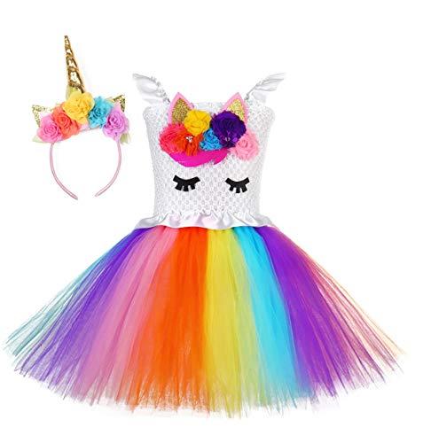 Kokowaii Fancy Girls Unicorn Tutu Dress Kids Party Costume with Headband