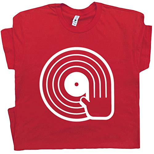 M - DJ T Shirt Vinyl Record Player Tee Turntables Trust Me I'm a The Technics Vintage 80s Men Women Kids Teen Red