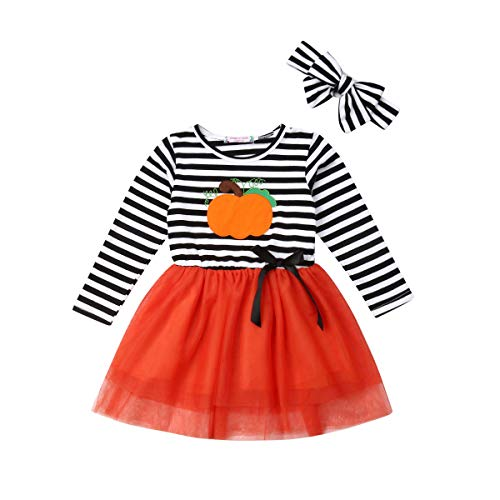 Toddler Baby Christmas Outfits Kids Girls Deer Print Long Sleeve Tulle Tutu Dress Santa Striped Skirt Clothes Set]()