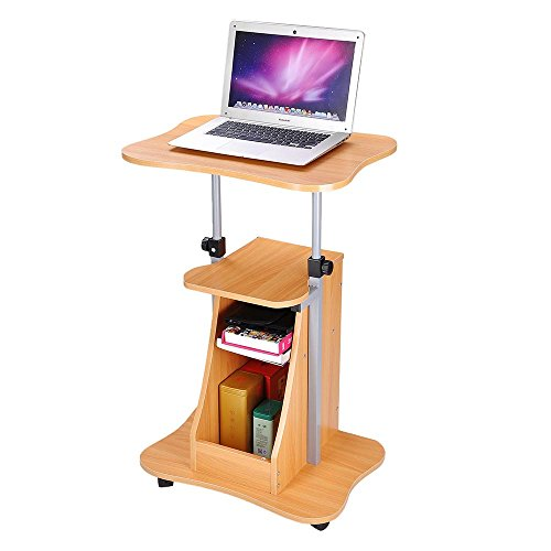 Yescom Adjustable Height Rolling Mobile Stand Laptop Desk Cart w/ Storage Office Beech (Workstation Mobile Adjustable Stand)