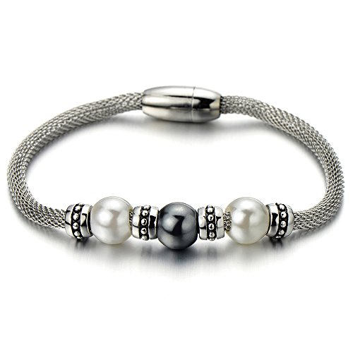 Synthetic Pearl Charm - Synthetic Grey White Pearls Beads Beaded Charm Bracelet