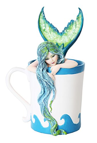 GiftImpact Amy Brown Fantasy Art Afternoon Tea Time Collection- I Need Coffee Mug Faery Tea Cup Fairies Statue (Morning Bliss Mermaid Coffee)