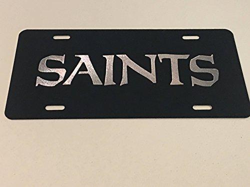 Diamond Etched New Orleans Saints 2 Logo Car Tag on Black Aluminum License Plate