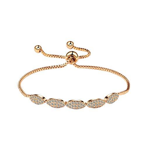WeimanJewelry Shiny Oval Shape Adjustable CZ Bolo Bracelet Paved with Tiny Cubic Zirconia Crystal for Women Lady (Rose Gold) ()