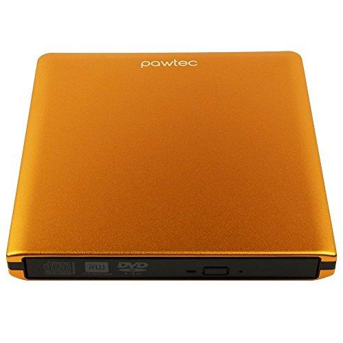 Pawtec Signature External USB 3.0 Aluminum 8X DVD-RW Writer Optical Drive For PC Windows & Mac - ORANGE ()