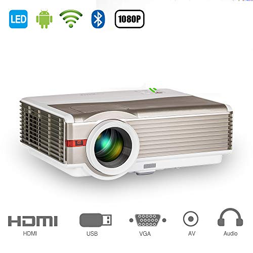 (EUG HD Wireless Smart LCD Projector with WiFi Bluetooth 5000 Lumens 1280x800 Native Home Theater Android Projectors HDMI USB Aux Audio VGA, Outdoor Entertainment Game Consoles APPs Movies)