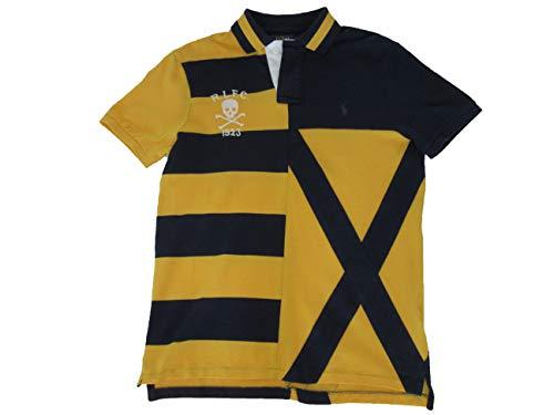 (Ralph Lauren Polo Mens Custom Slim Fit Cotton Mesh Rugby Shirt Blue)