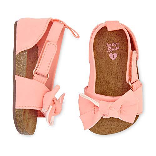 Infant Girls Sandals - OshKosh B'Gosh Girls Bow Strap Sandals Crib Shoe, Pink, 0-3 Months