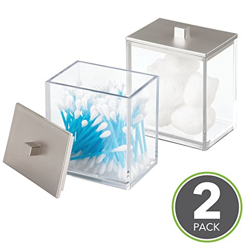 Large Product Image of mDesign Bathroom Vanity Storage Organizer Canister Jars for Q tips, Cotton Swabs, Cotton Rounds, Cotton Balls, Makeup Sponges, Bath Salts - Pack of 2, Clear/Brushed