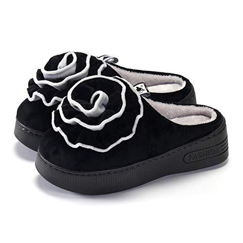Cuña Algodón De Y Impermeables Con Correa Caseros Tacón 39 Mujer,plataforma 40 Media Zapatillas Para Negro Alto Zapatos wxdnzfO1