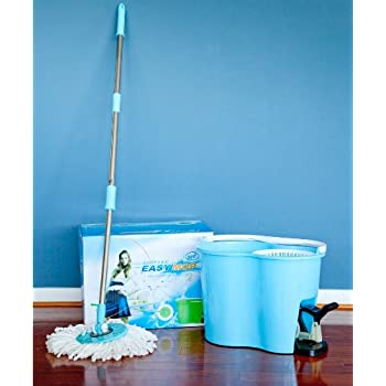 MopAway® Hands Free Dry Mop + Bucket - Blue, Rotates 360 Degrees