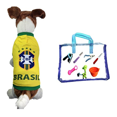 Dog Soccer Jersey Brasil (Small)-pet T-shirt- Dog Grooming Kit-makes Dog Comfortable-cozy up Costume to Celebrate Your Country Tradition-enjoy Your Football Team Passion-best Quality Jersey.