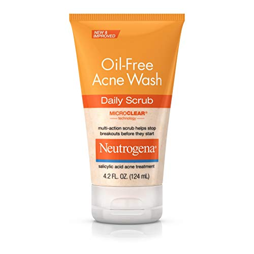 Neutrogena Oil Free Acne Face Scrub with Salicylic Acid Acne Treatment Medicine, Daily Face Wash to Prevent Breakouts, Oil Free Exfoliating Acne Cleanser with Salicylic Acid, 4.2 fl. oz (Best Cleanser For Teenage Acne)