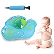 Baby Swimming Float Ring, Baby Swim Float Newborn Swimming Pool Toys, Inflatable Swim Ring Children Seat Boat Float Early Learning Toy for 3 to 12 Months (S)