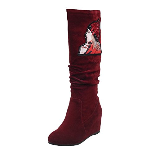 d013b9863ca77b Mee Shoes Damen hidden heels Nubukleder langschaft Stiefel Rot ...