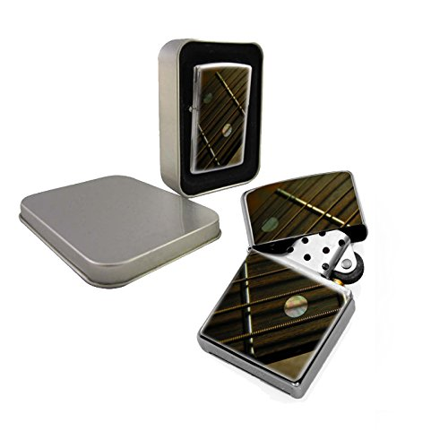 Guitar Fretboard - Silver Chrome Windproof Refillable Cigarette Lighter
