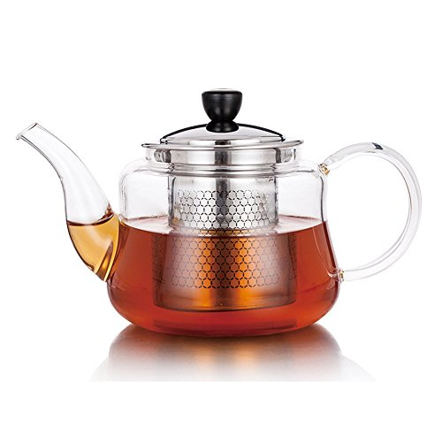 Fearnley Glass Teapot – 700 mL (23 ounces) Stove Top Safe Glass Tea Kettle with Stainless Steel Loose Tea Infuser Filter