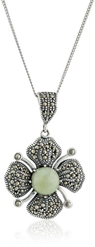 Sterling Silver Marcasite Green Jade Flower Curb Chain Pendant Necklace, 18