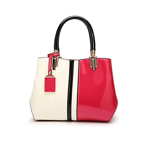Diagonal Pink Fashion Leather Patent Shoulder Bag Bag Bag Lady Handbag Women's w6nqpIUq