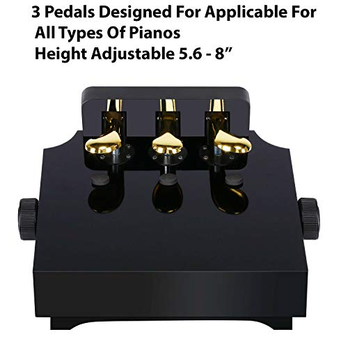 3 Pedals Piano Extender - Height Adjustable Piano Stool Piano Pedal Extension Designed For Kids & Piano Students Black